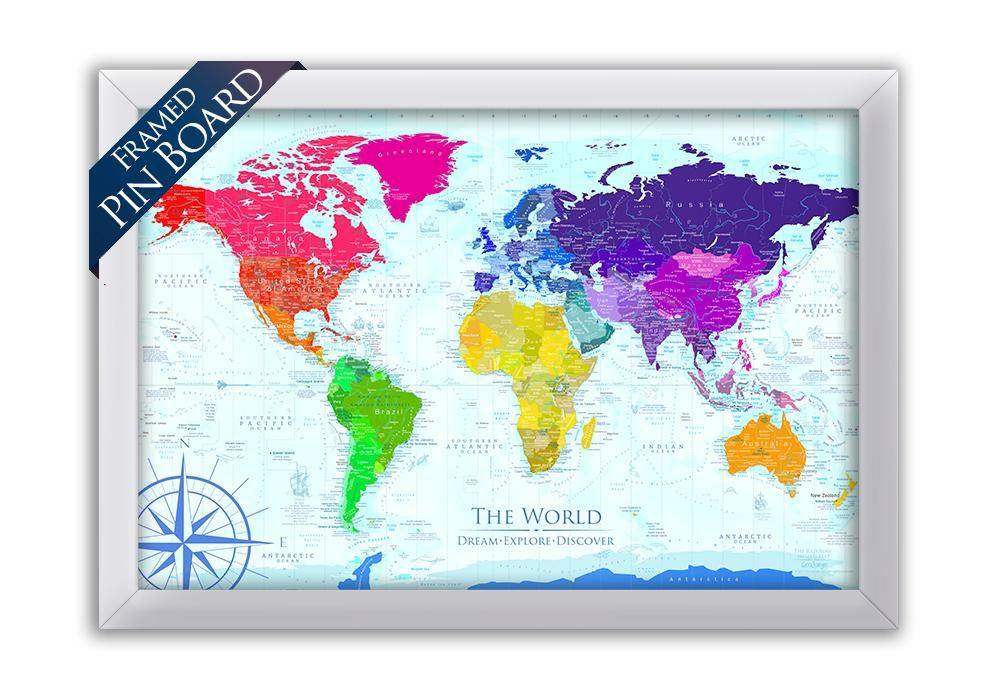 Rainbow World Map Framed Pin Board Map Geojango Maps Products