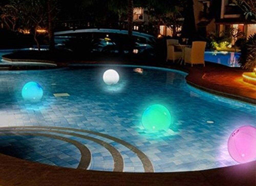 10 Genius Ways To Make Your Backyard A Blast Pool Lights Night Pool Party Led Color Changing Lights