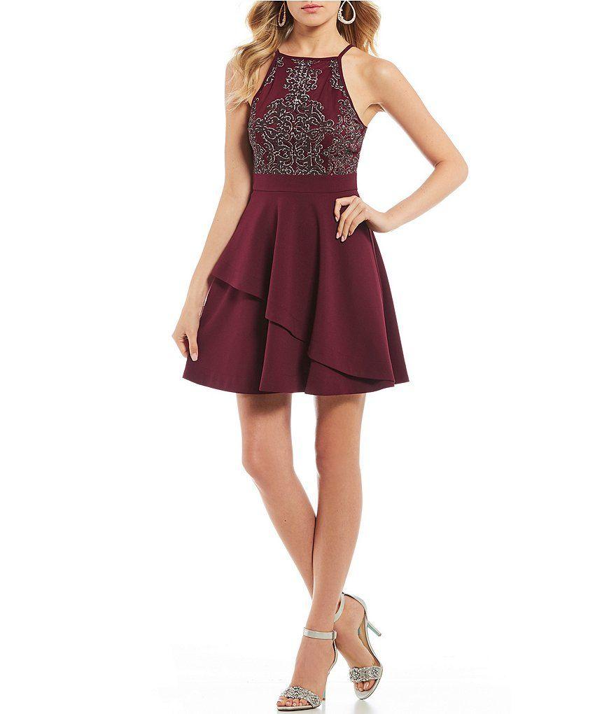 2444e5593ef Xtraordinary Caviar Beaded Bodice Asymmetric Layered Skirt Dress in ...