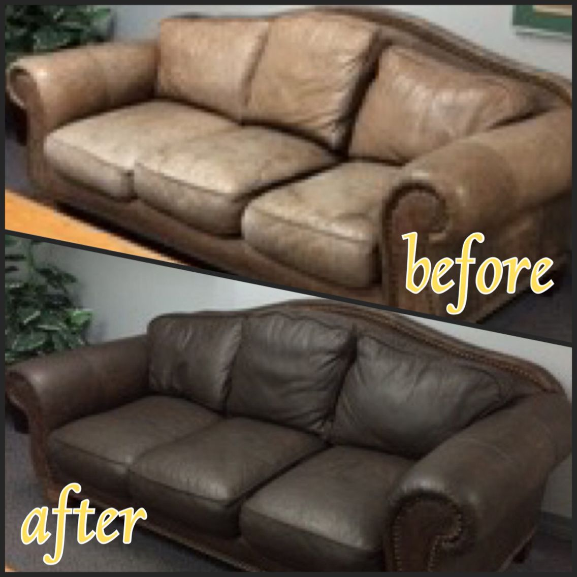 Dr Robert Cheers Up His Waiting Room Thanks To Rub N Restore Espresso Colored Leatherdye Furnitu Brown Leather Couch Leather Couch Repair Leather Furniture