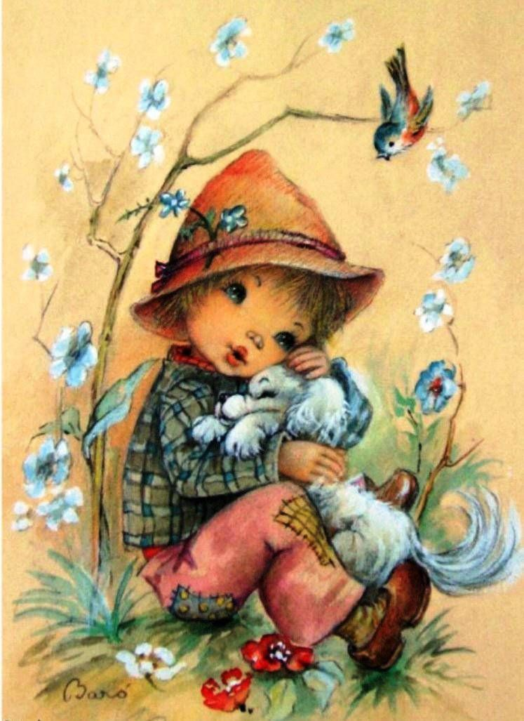 Пожарной, старые открытки рисованные
