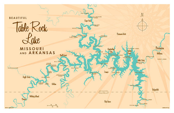 Table Rock Lake, MO Map Print | Lakebound Maps | Pinterest | Table