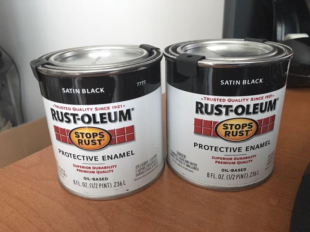Rust Oleum Protective Enamel Paint 8 Ounce Satin Black