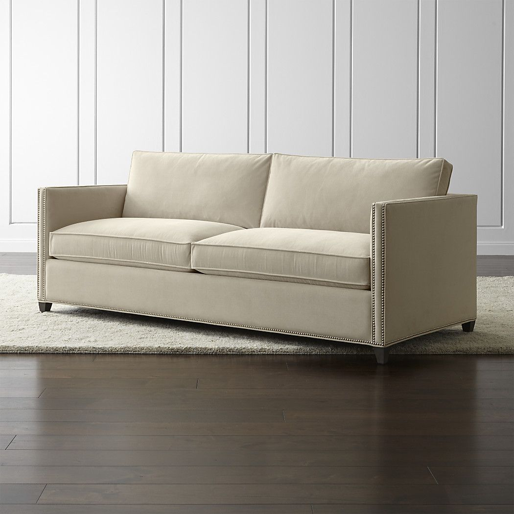 crate and barrel sleeper sofa corner bed us dryden queen with nailheads view wheat