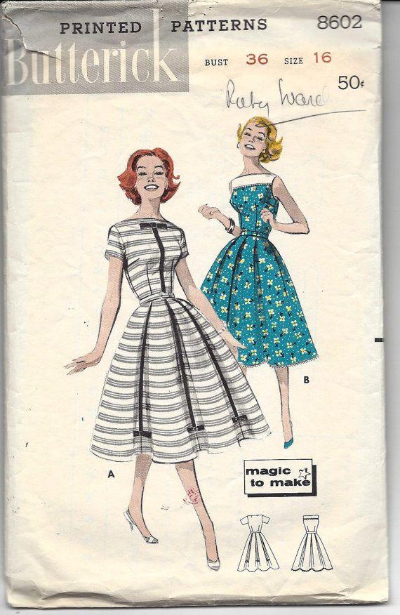 1950s Butterick 8602 Magic-To-Make Full Skirted Dress, Sabrina ...