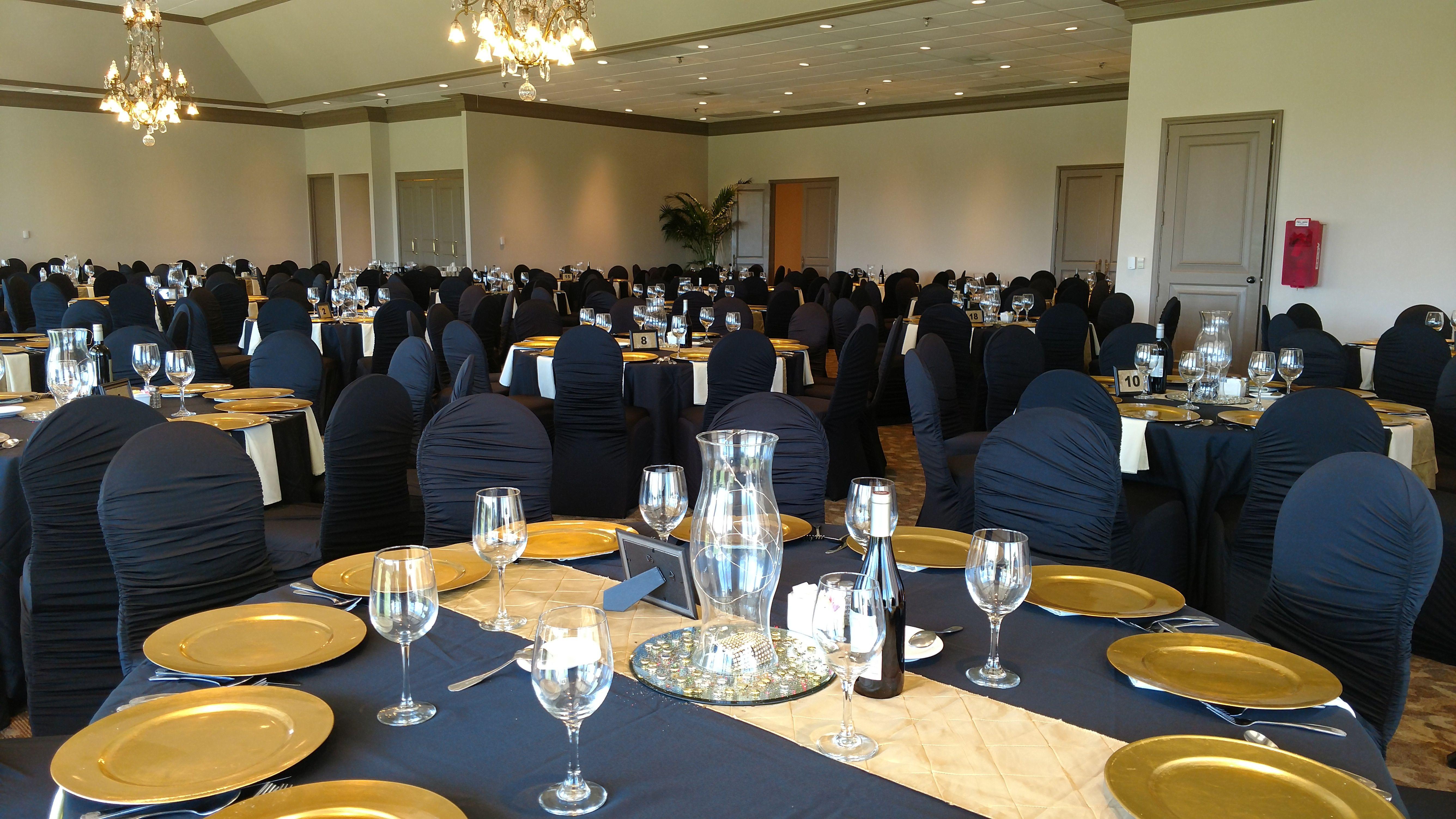 Elegant Awards Gala with Black Floor Length Linens Black Spandex