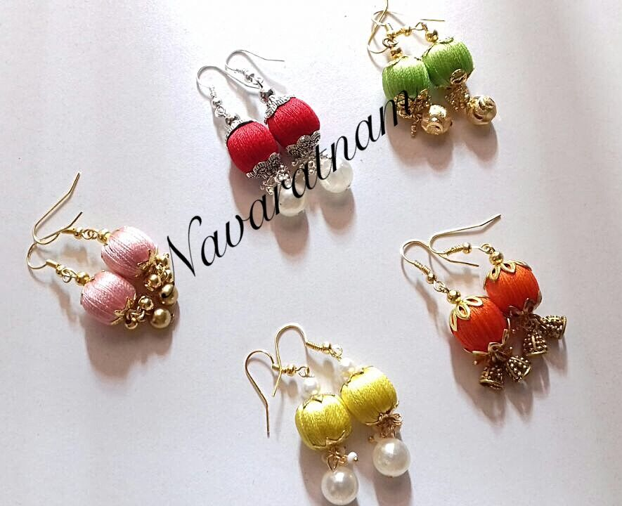 Simple Daily Wear Silk Thread Bead Earring With Hooks For Kids