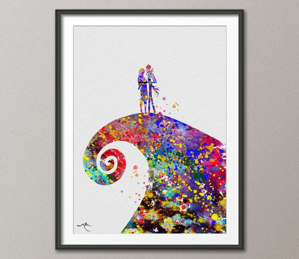 The Nightmare Before Christmas Watercolor Art Print Archival Fine ...