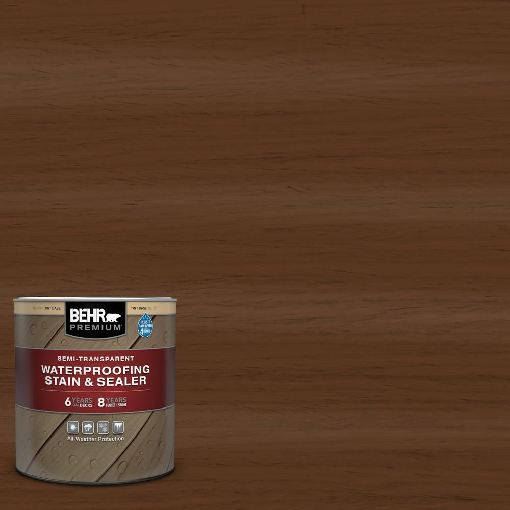 Behr Premium 1 Qt St 129 Chocolate Semi Transparent Waterproofing Exterior Wood Stain And Sealer Brown Exterior Wood Stain Wood Deck Stain Semi Transparent Stain