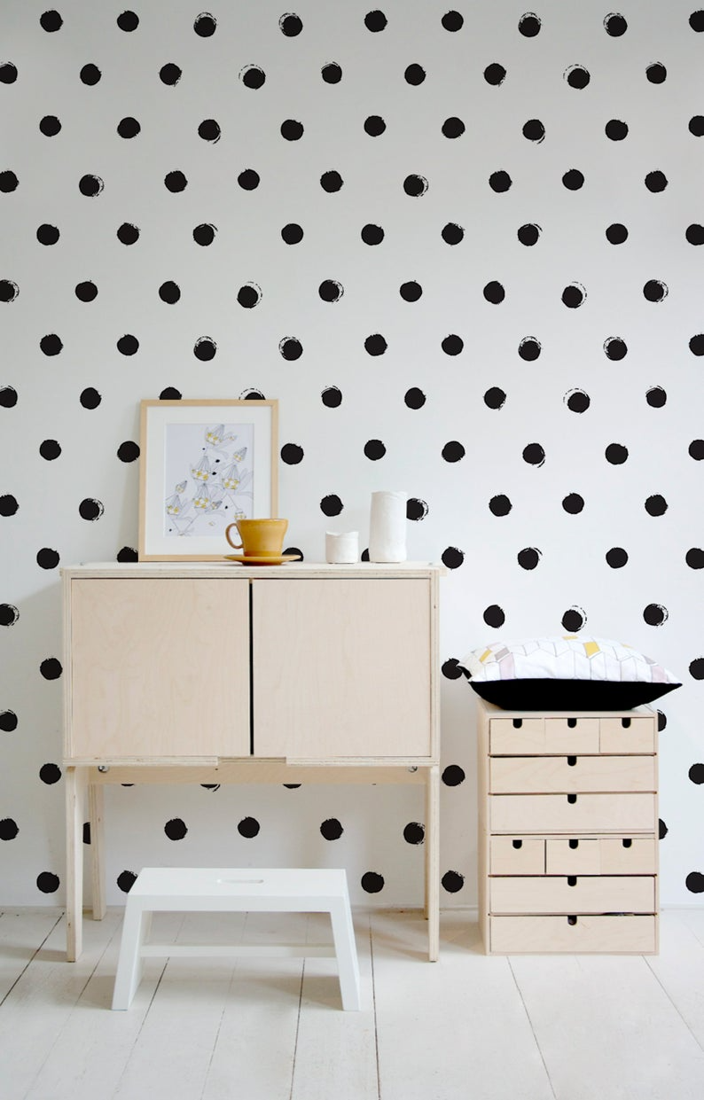 Self Adhesive Cute Spot Pattern Wallpaper Scallop Removable Etsy In 2020 Polka Dot Walls Wall Wallpaper Temporary Wallpaper