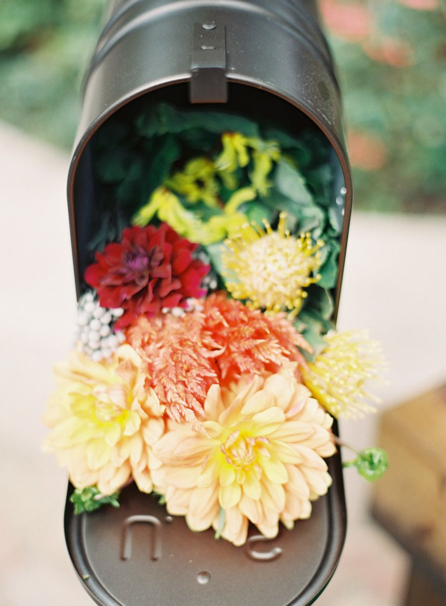 special floral delivery Mailbox wedding decor, Wedding