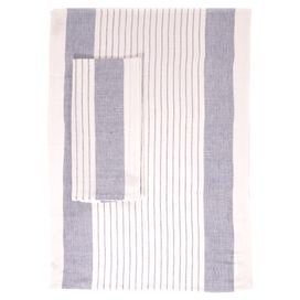 """An elegant addition to your kitchen, this charming linen-cotton dishtowel showcases lovely blue stripes.  Product: Set of 2 towelsConstruction Material: Linen and cottonColor: Ivory and blueDimensions: 20"""" x 28"""" each"""