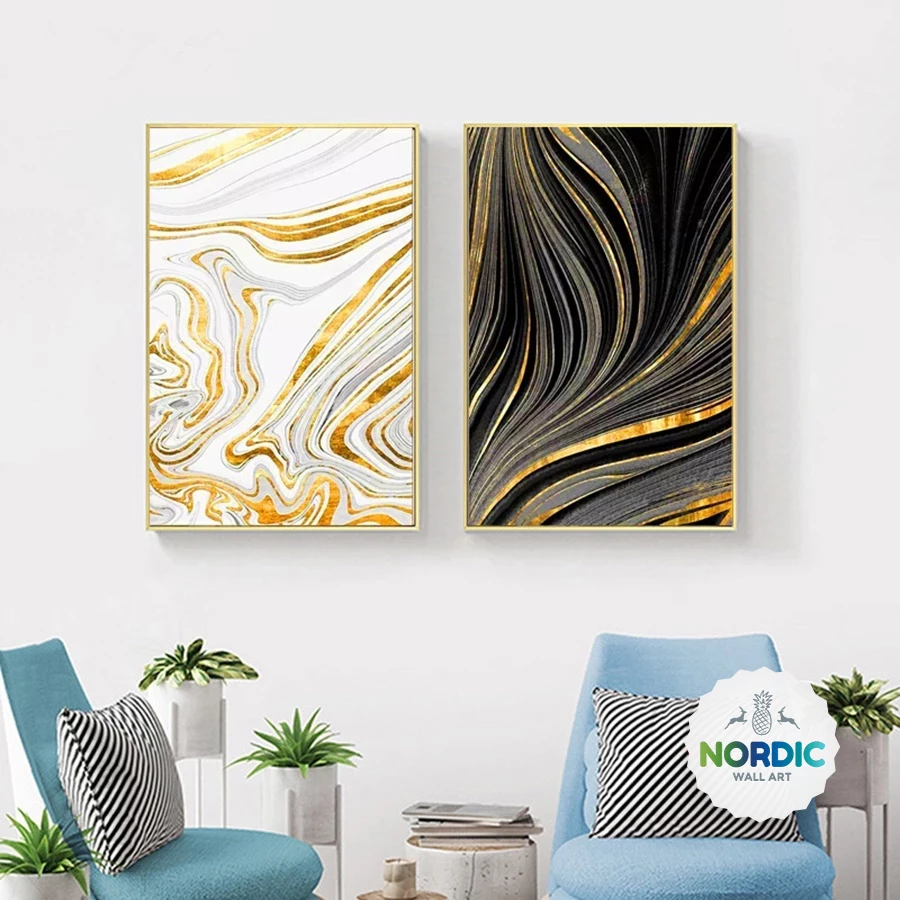 Abstract Golden Marble Swirls Nordic Wall Art Fine Art Canvas Prints Modern Home Office Decor Nordi Living Room Canvas Pictures Glam Wall Decor Gold Wall Art