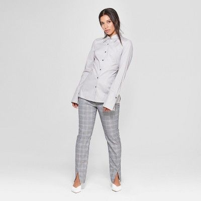 3c9d0a636 Women's Long Sleeve Fitted Button-Down Collared Shirt - Prologue Gray XS