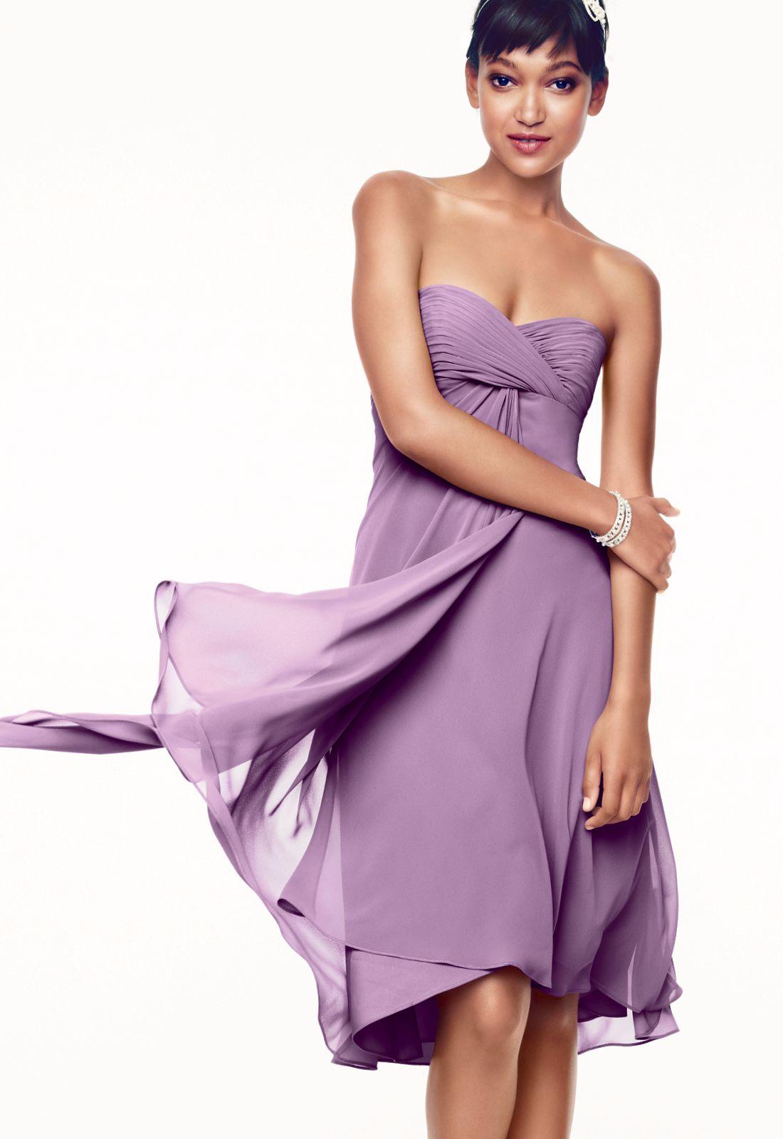 Davidus bridal strapless chiffon short bridesmaid dress style