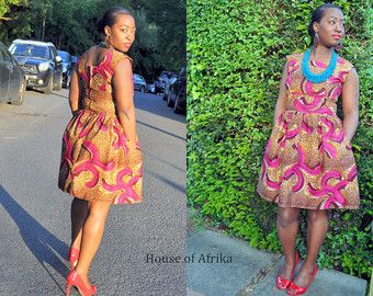 060ec81c9c208 Balma Dress in mustard hues. by HouseofAfrika on Etsy