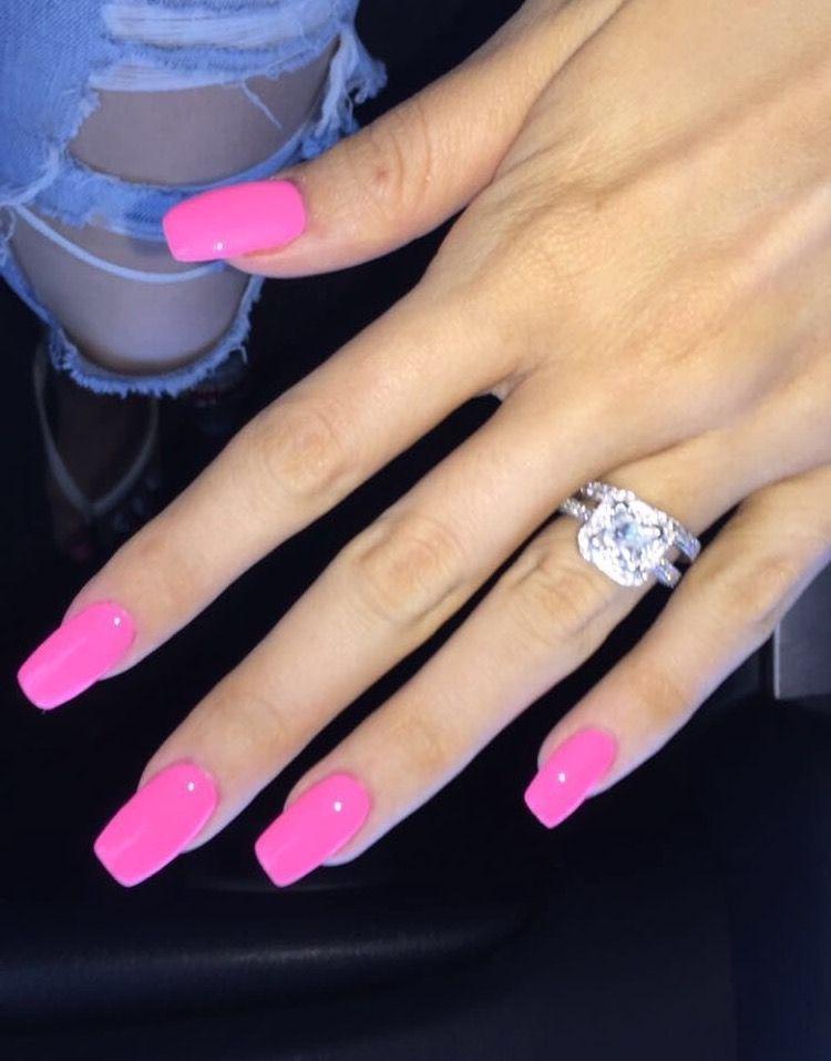 This Color Square Acrylic Nails Pink Nails Pink Acrylic Nails