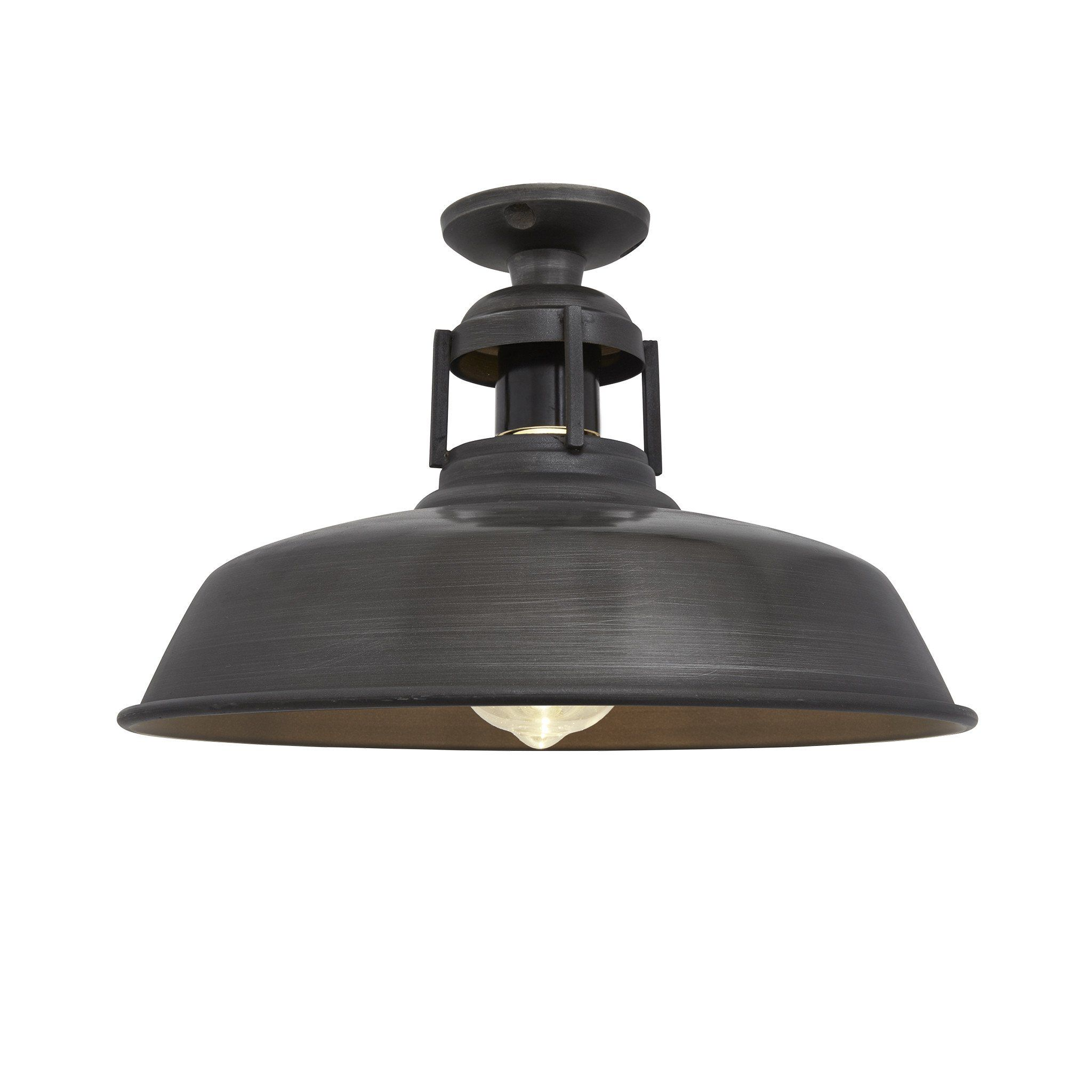 barn slotted flush mount - 12 inch - pewter | kitchen