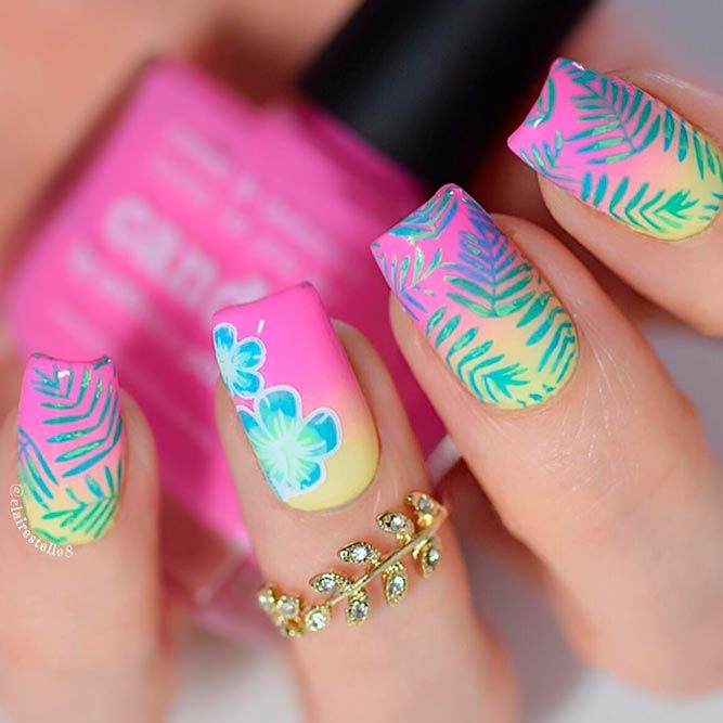 50 Cool Tropical Nails Designs For Summer Nails Pinterest