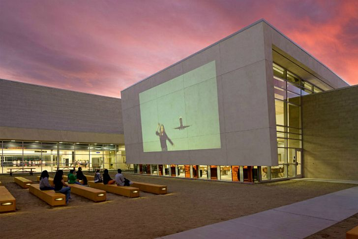 Photo of Energy Efficient Silverland Middle School Comes With its Own Outdoor Movie Screen