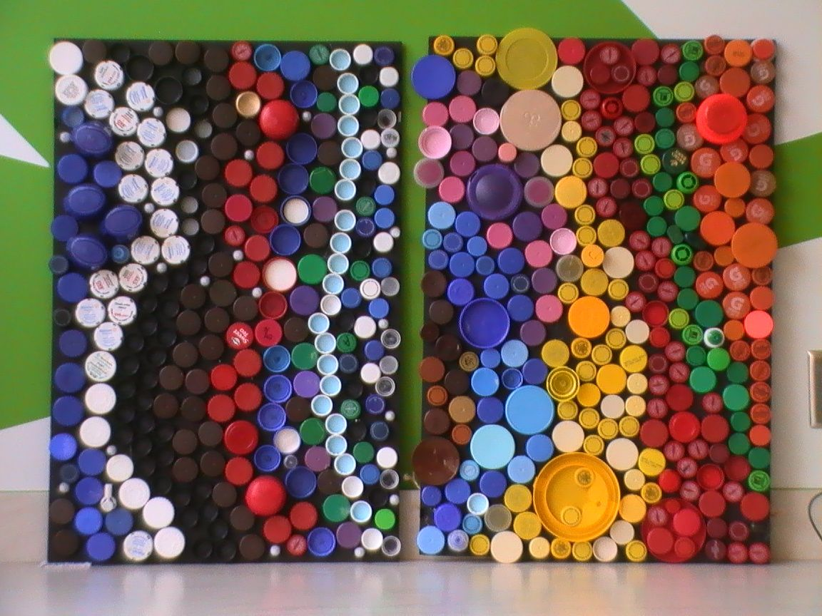 Recycle plastic bottles into art bottle cap art lesson for Art made from plastic bottles