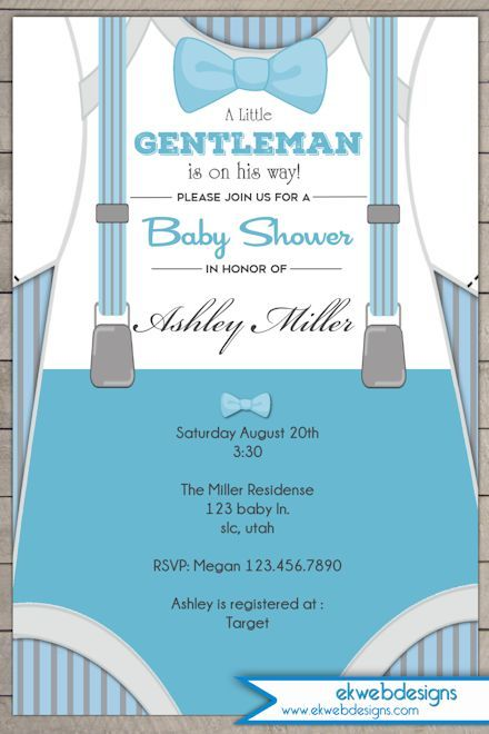 Custom Little Gentleman Baby Shower Invitation   Little Man Baby Shower  Invitation