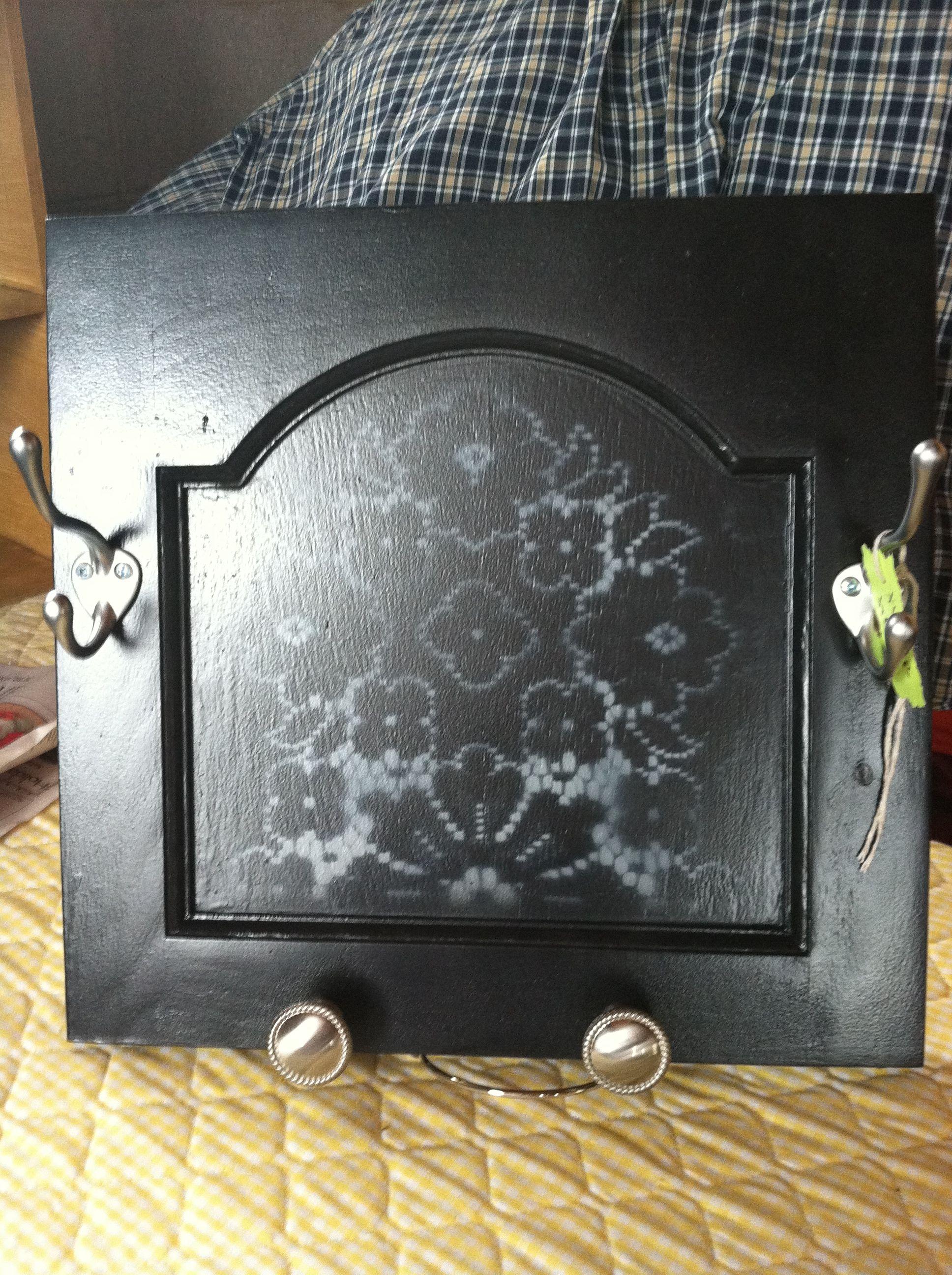Took Old Cabinet Door Gave A New Black Coat Of