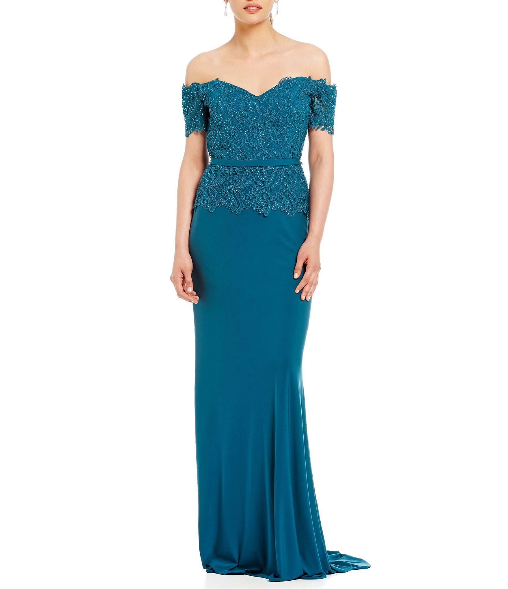 Shop for MGNY Madeline Gardner New York Off-The-Shoulder Lace Gown ...