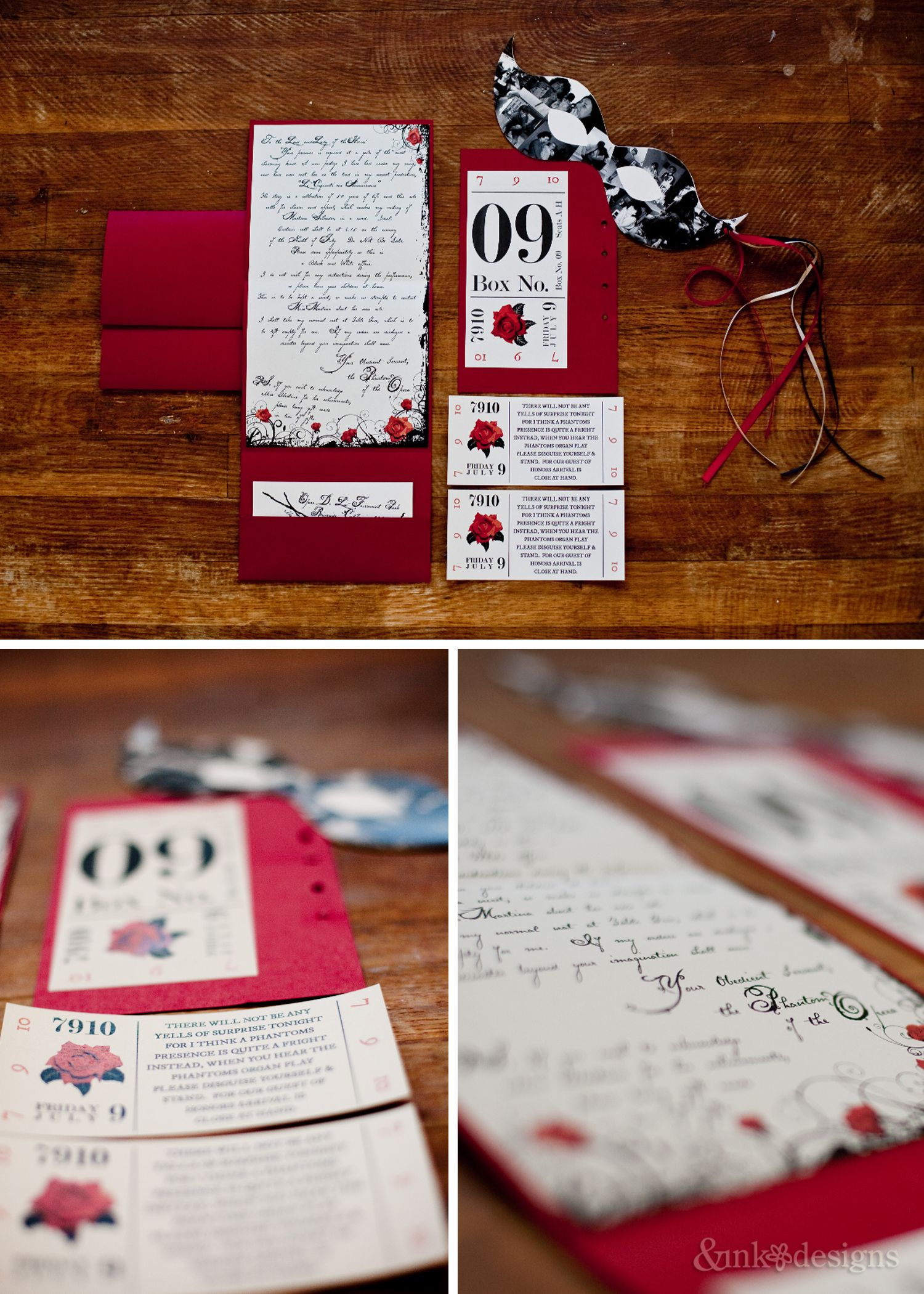 Romantic Theatrical, Phantom of the Opera, Personalized Invitation ...