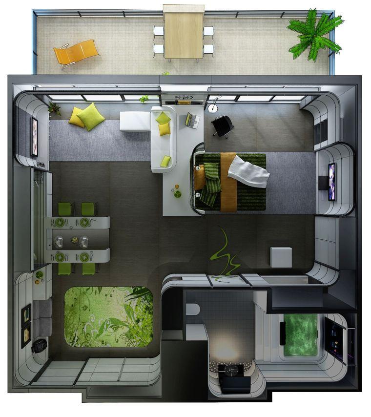 Le plan appartement d\u0027un studio - 50 idées originales Studio, Tiny