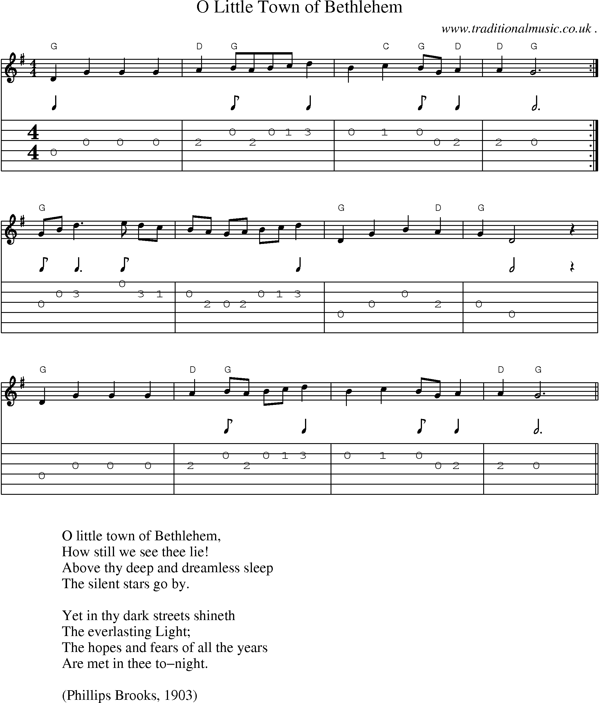 Music Score And Guitar Tabs For O Little Town Of Bethlehem Sheet
