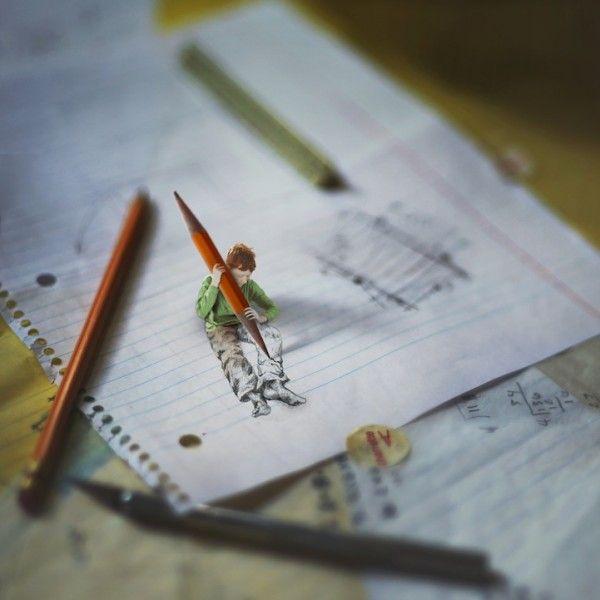 little kid sketching himself