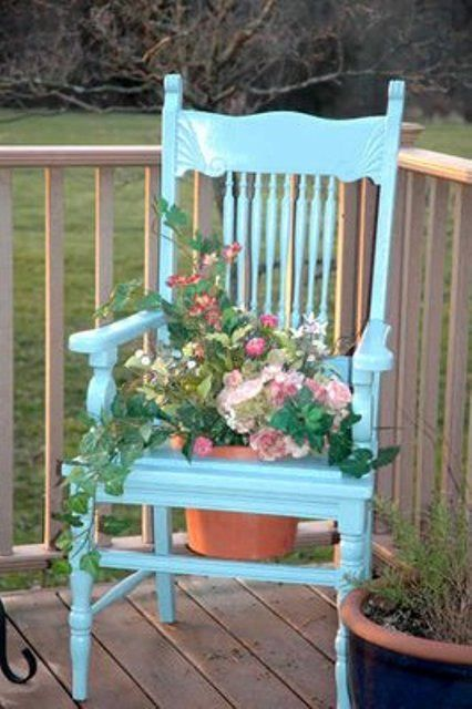 I did something similar to this with an ornate wooden chair that the cane seat was torn, really looks great on your front porch.