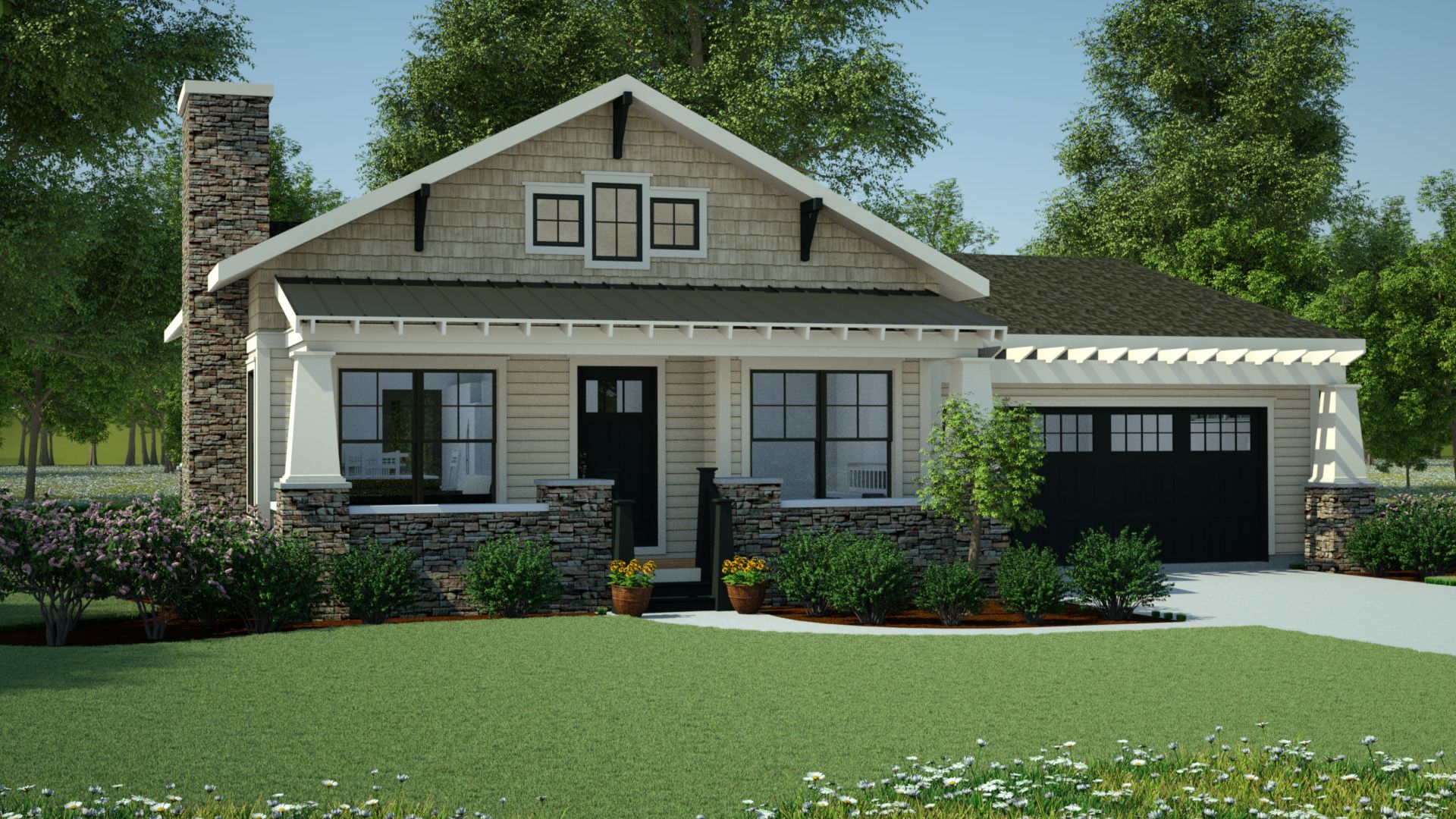 One Story Craftsman Style Bungalow House Plans