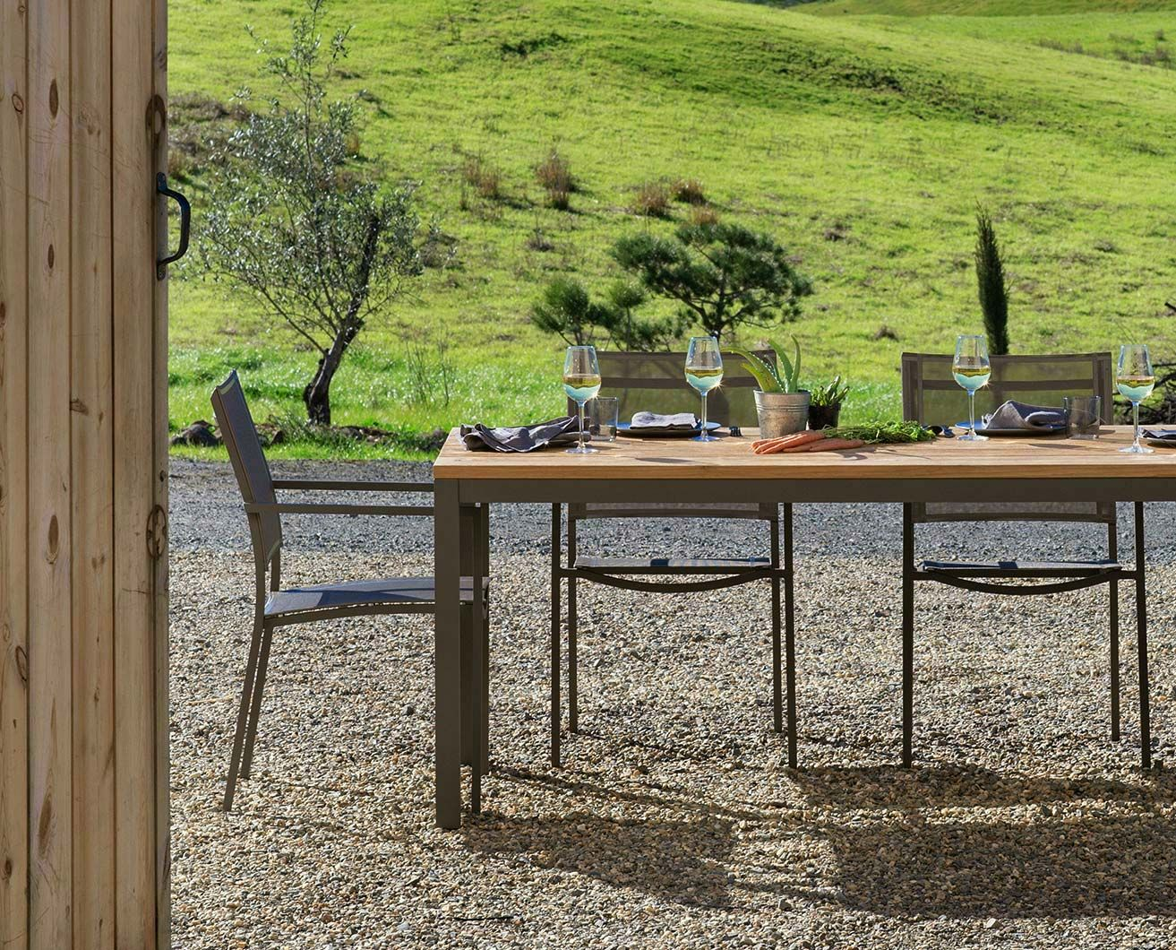 Sila Rectangular Table From Scandinavian Designs Our Rustic Chic Dining Features An Fsc Reclaimed Teak Top With Frosted Taupe Aluminum