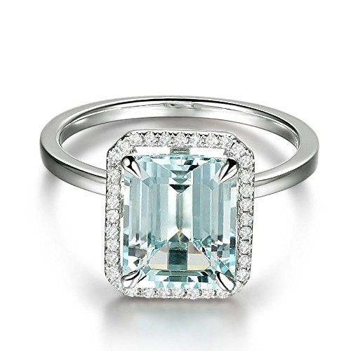 $829 Emerald Cut Aquamarine Engagement Ring Pave Diamond Wedding 14K White Gold,8x10mm #aquamarineengagementring