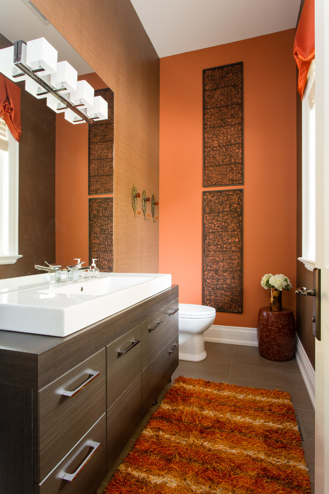 An Edgy Touch By Wood Tones Small Bathroom Paint Orange Bathroom Decor Orange Bathrooms