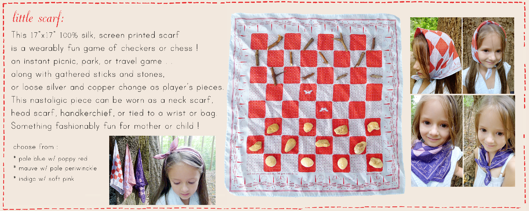 This little silk scarf is a screen printed wearably fun portable game of checkers or chess !   Available at :  LITTLENAMEDESIGN.com