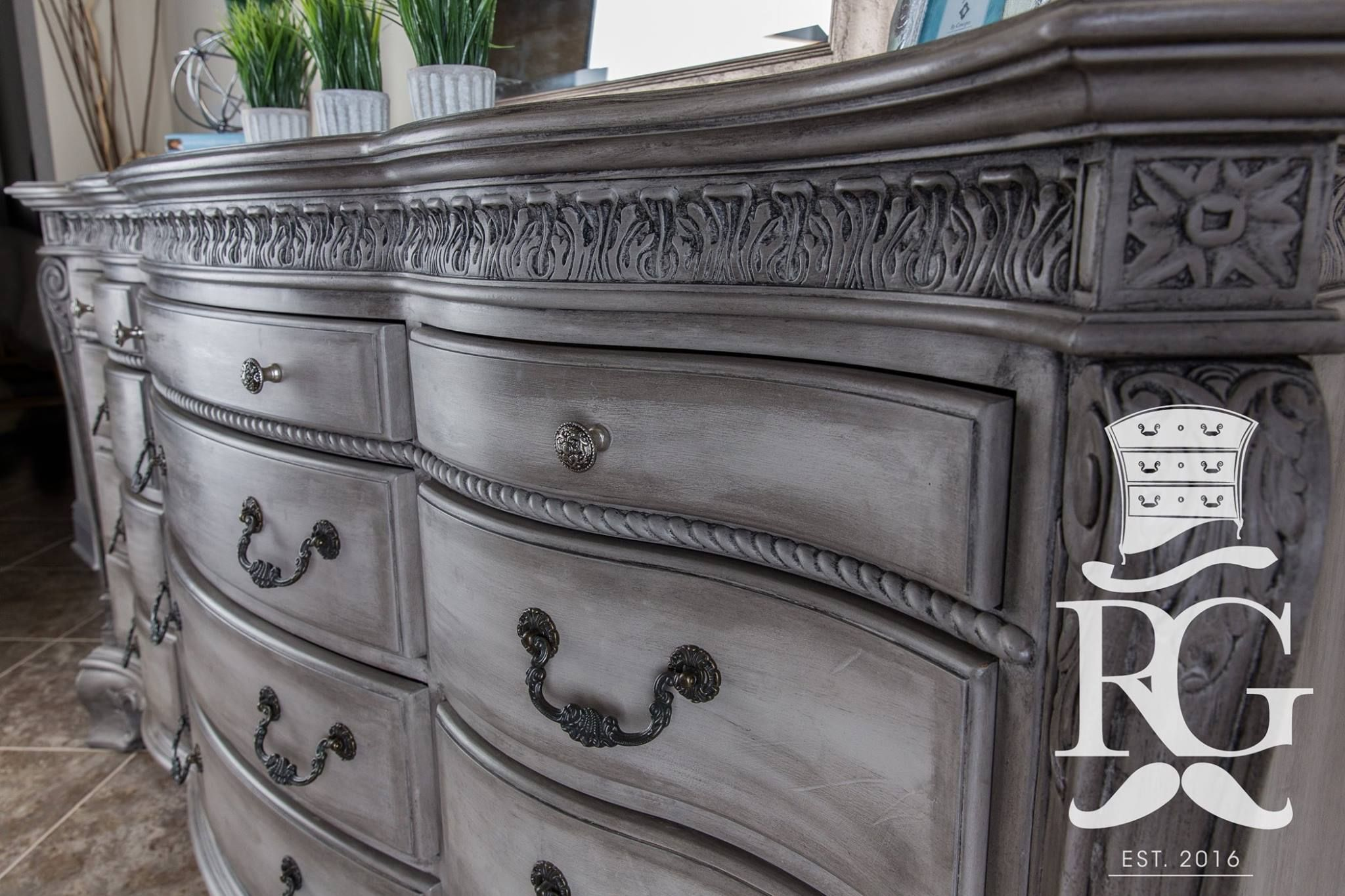 Dresser Painted In Annie Sloan French Linen Clear Wax And