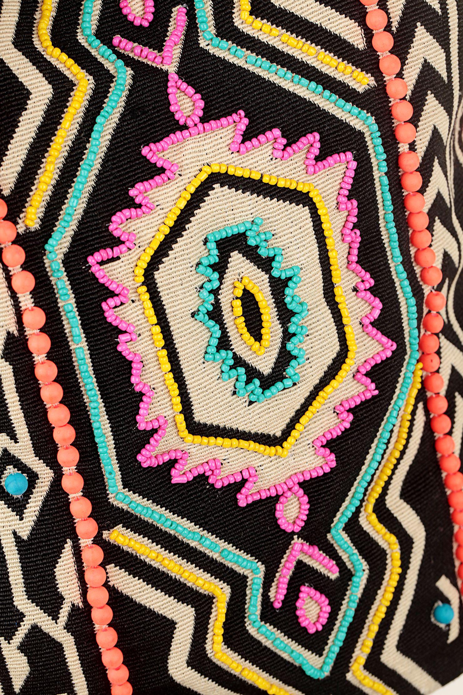 Sac seau noir broderies et perles Latifundium Derhy en promotion sur MonShowroom.com