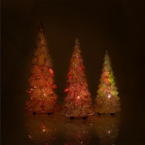 David Monn for Winter Lane Set of 3 Lighted Glass Glitter Trees
