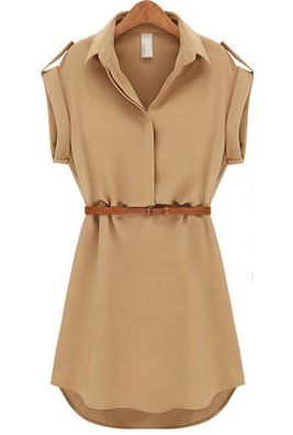 Lapel Loose Chiffon Khaki Dress