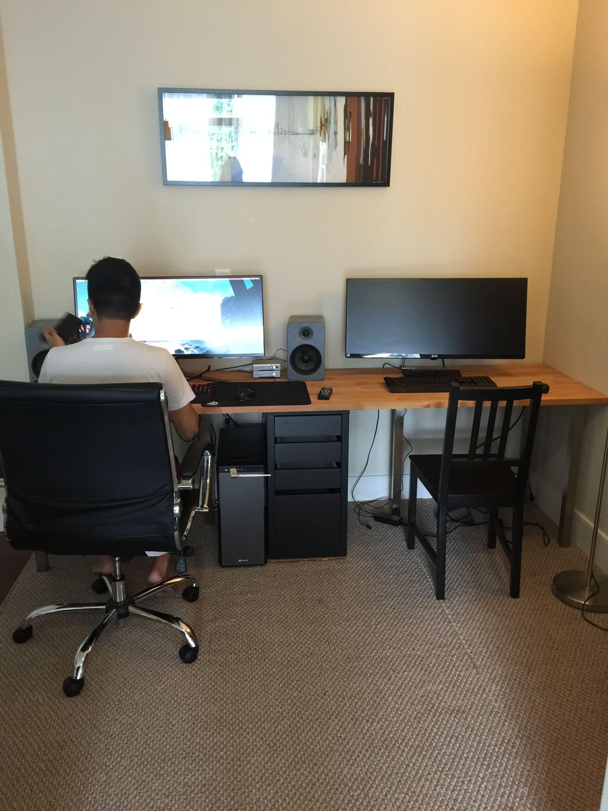 The modern couple Two person desk that fits two ultra wide monitors for the ultimate side