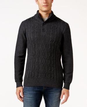 Tricots St. Raphael Men's Faux Sherpa Trim Cable-Knit Mock Neck Sweater - Gray XXXL