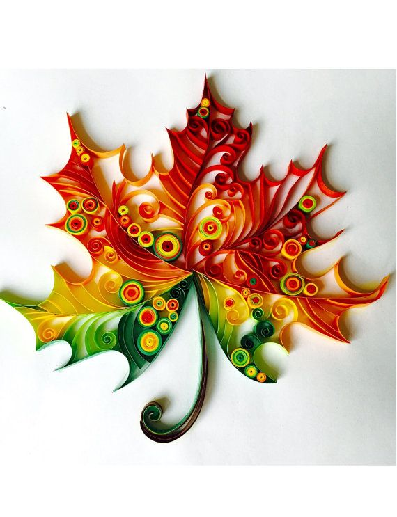 Maple leaf unique paper quilled wall art for home decor for Best quilling designs