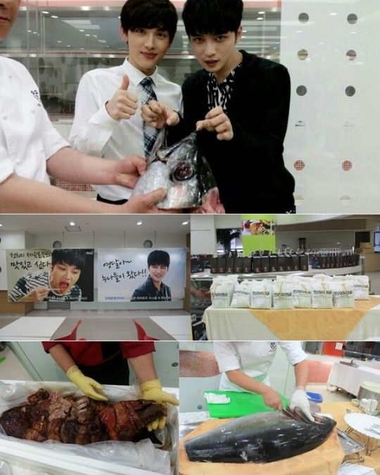 JYJ's member Jaejoong received grand presents from his fans of Korea and Japan. http://www.kpopstarz.com/articles/93985/20140604/jyj-jaejoongs-fans-send-pork-buffet-and-180-padded-jackets-for-staff.htm