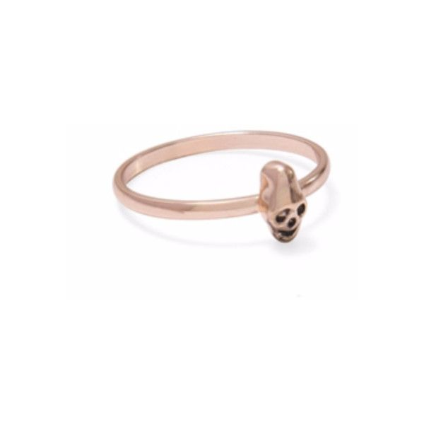 Weathered Penny Rose Gold Skull Ring 781 liked on Polyvore