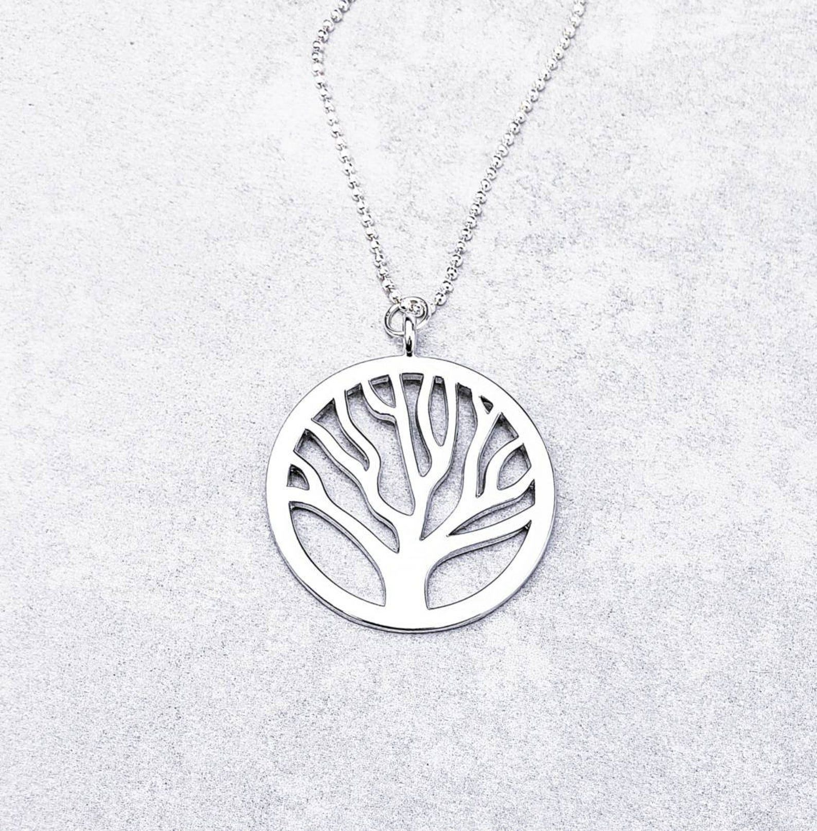 Tree of life charm chain link cable silver lobster clasp necklace