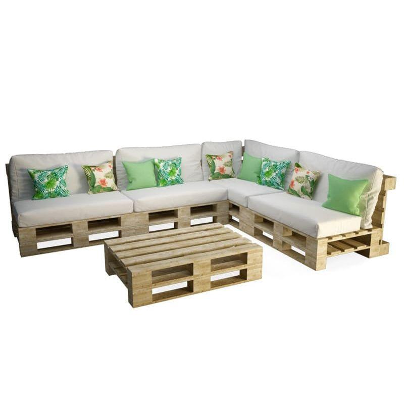 canape d angle et table palettes
