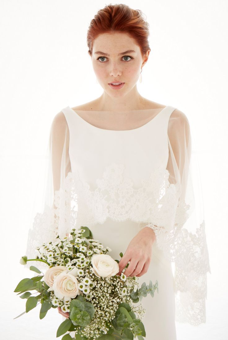 Wedding dress cape  ad LeaAnn Belter Bridal Fiona Gown and Lace Fiona Cape From the